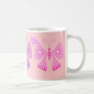 Mug Girls Kid's Pink Purple Colored Butterfly Set
