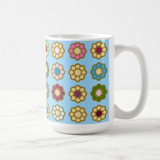 """Mug gran modelo diseño """"Piso de flores """" Taza Clásica"""