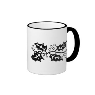 Mug - Holly leaves in black and white