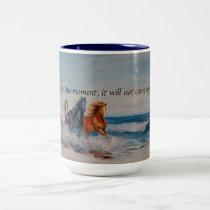 Mug, Horses in the Surf Two-Tone Coffee Mug