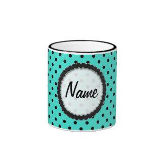 Mug  Hot Black and Turquoise Polka Dot