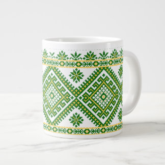 Mug Jumbo Green Ukrainian Cross Stitch