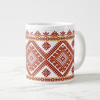 Mug Jumbo Red Ukrainian Cross Stitch Embroidery 20 Oz Large Ceramic Coffee Mug