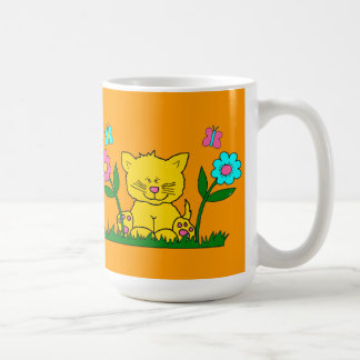 Mug Kid's Kitten Flowers Yellow Pink Blue 2