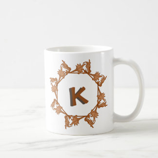 Mug - Leaves in Circle with Initial