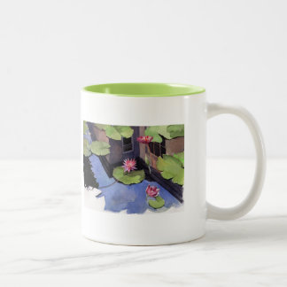 MUG, Lilly pads, green Two-Tone Coffee Mug