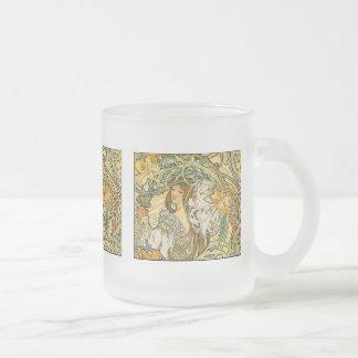 Mug:  Mucha - Language of Flowers Frosted Glass Coffee Mug