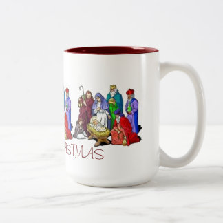 MUG NATIVITY SCENE TRIAD PERSONALIZED MERRY CHRIST