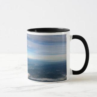 Mug of Mt Rainier and Adams with sky clouds earth