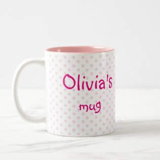 ♥ MUG ♥ OLIVIA pink polka dot girly personalize