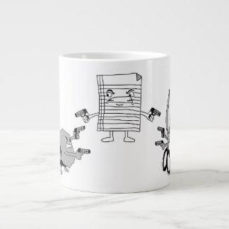 "Mug ""Paper, scissors, stone"" 20 Oz Large Ceramic Coffee Mug"