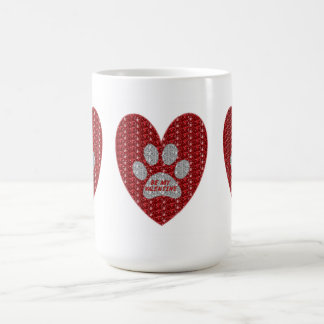 Mug Paw Heart Red Silver Be My Valentine