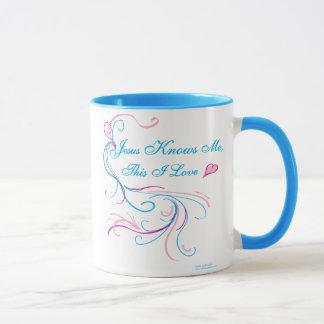 "Mug, pink & blue: ""Jesus Knows Me, This I Love"" Mug"