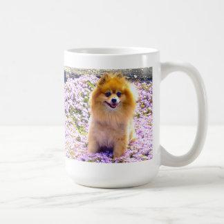 Mug   Pomeranian Marley with Mauve flowers