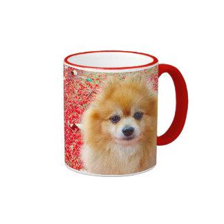 Mug | Pomeranian Marley with Red flowers