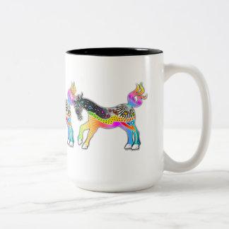 MUG, Pop Art HORSES Two-Tone Coffee Mug