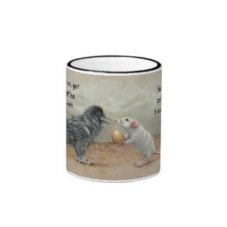 Mug, Rat giving Raven an Egg with editable text Ringer Coffee Mug