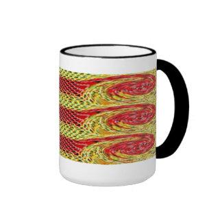 Mug. Red Yellow meshed musical symbol. Ringer Mug