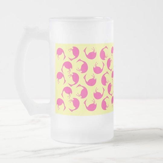 Mug ~ Retro Tumbling Pink Flamingo polka dots