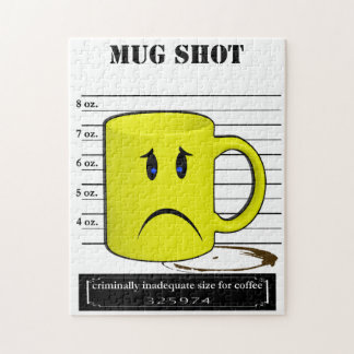 Mug Shot Coffee Mug Cup Cartoon Meme Jigsaw Puzzle