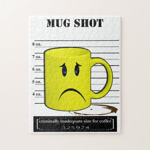 Mug Shot Coffee Mug Cup Cartoon Meme Jigsaw Puzzles