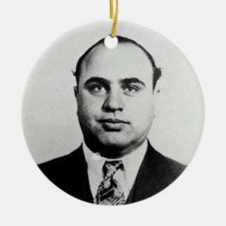 Mug Shot of Chicago Gangster Alphonse Capone 1931 Double-Sided Ceramic Round Christmas Ornament