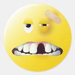 Mug Shot Smiley Face Round Sticker