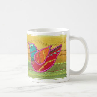 mug -stylised birds in a design made from fabric