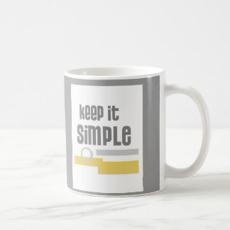 mug text design Keep It Simple gray and white