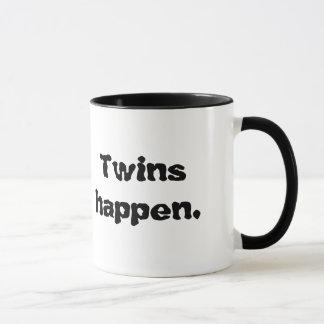 "Mug that states, ""Twins happen."""
