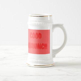 "mug-travel-""GOOD MORNING""-Red 18 Oz Beer Stein"