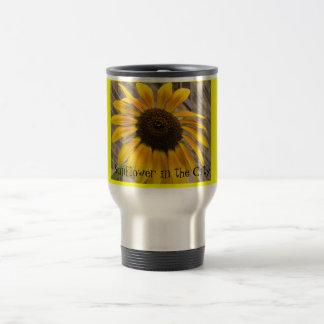 Mug -- Travel Mug -- Sunflower in the City