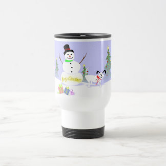 Mug (Travel) - Snowman and Dog Merry Christmas