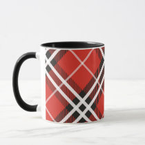 Mug-Two Tone-Red and Black Plaid Mug