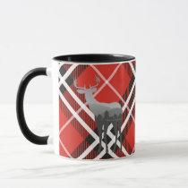 Mug-Two Tone-Red and Black Plaid with Deer Mug