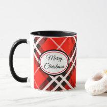 Mug-Two Tone-Red/Black Plaid Merry Christmas Mug