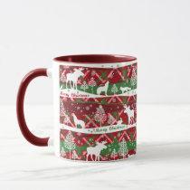 Mug-Two Tone-Red/Green Christmas Scene Mug