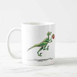 Mug Velociraptor w/Basketball Cartoon Dinosaur