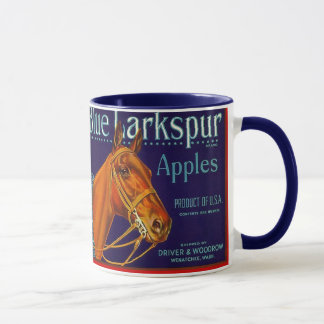 MUG ~ VINTAGE BLUE LARKSPUR BRAND APPLE LABEL AD!