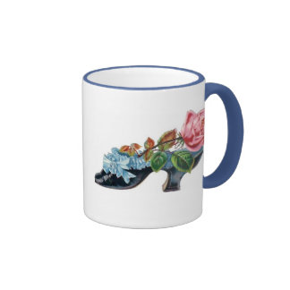 Mug Vintage Floral Shoe Bouquet Blue Pink Mug