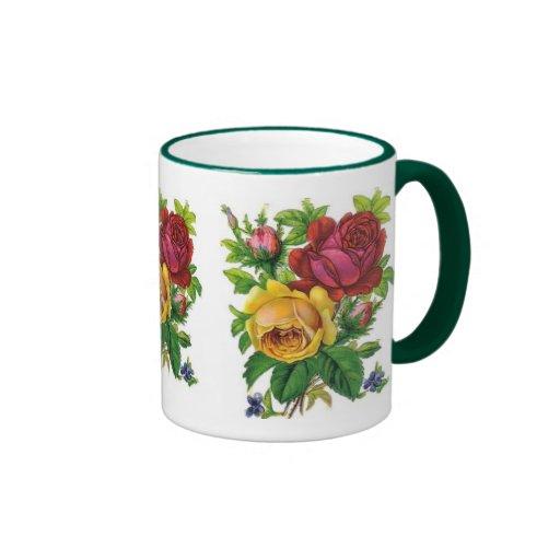 Mug Vintage Floral Yellow Red Rose Green Coffee Mug
