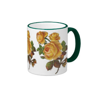 Mug Vintage Floral Yellow Rose Green Coffee Mug