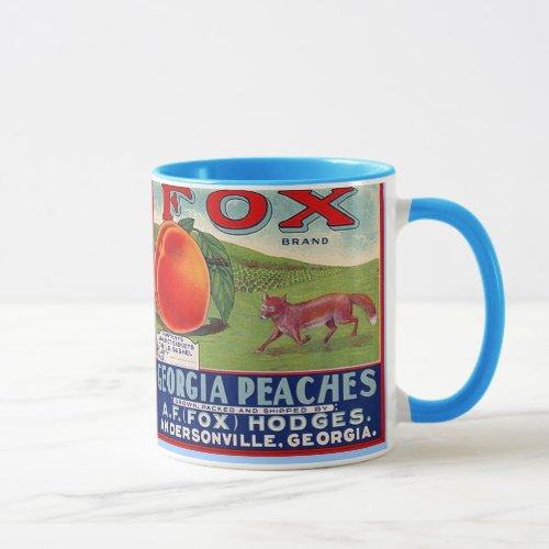 MUG ~ VINTAGE GEORGIA PEACHES CRATE LABEL ~ FOX