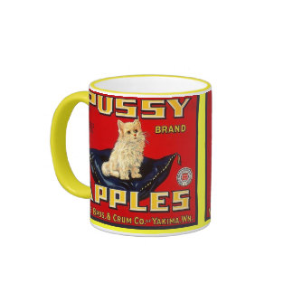 MUG ~ VINTAGE PUSSY BRAND APPLE CRATE LABEL!