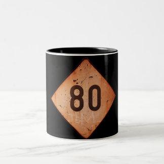 Mug: Vintage Railroad 80 Speed Train Sign Two-Tone Coffee Mug
