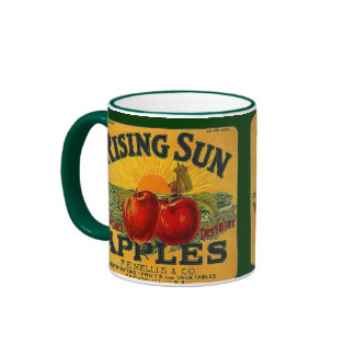 MUG ~ VINTAGE RISING SUN BRAND APPLE CRATE LABEL!