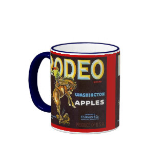 MUG~ VINTAGE RODEO BRONC &RIDER APPLE CRATE LABEL! RINGER COFFEE MUG
