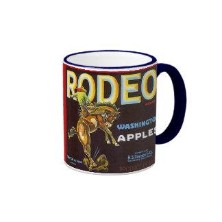 MUG~ VINTAGE RODEO BRONC &RIDER APPLE CRATE LABEL!