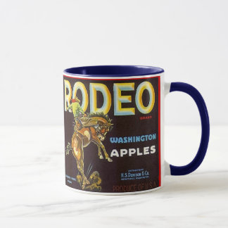 MUG~ VINTAGE RODEO BRONC &RIDER APPLE CRATE LABEL! MUG