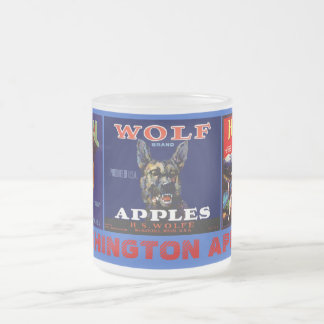 MUG~ VINTAGE WASHINGTON APPLES THREE CRATE LABELS! FROSTED GLASS COFFEE MUG